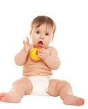 Kid eats an apple Stock Photo