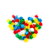 Kid education play concept. Colored plastic mosaic on a white background. Heart Stock Photo