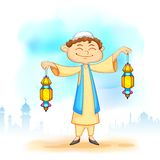 Kid with Eid lantern Royalty Free Stock Photography