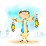Kid with Eid lantern. Illustration of kid holding colorful lantern for Eid celebration Royalty Free Stock Photography