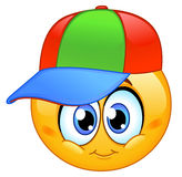 Kid emoticon. Wearing a baseball cap Stock Photos