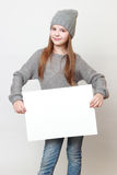 Kid and empty blank Stock Images