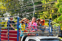Kid enjoy splashing water together in songkran festival Royalty Free Stock Photography