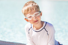 Kid enjoying the pool Stock Photo