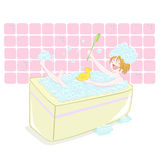 Kid enjoys bath Royalty Free Stock Image