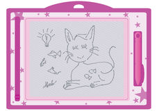 Kid Erasable Drawing Board_eps. Illustration of kid erasable drawing board with cat, fish, mouse, cheese, bulb and signature drawn, isolated on white background Royalty Free Stock Photo