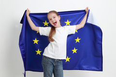 Kid and european flag Stock Image
