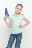 Kid and european flag Royalty Free Stock Photography
