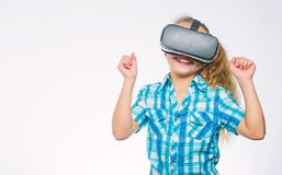 Kid explore modern technology virtual reality. Virtual education for school pupil. Girl cute child with head mounted stock photography
