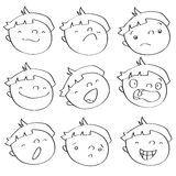 Kid expressions. Funny kid faces having different expressions, vector cartoon illustration. See color version in my portfolio Royalty Free Stock Images