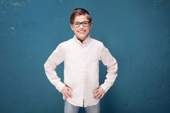 Smart boy in eyeglasses smiling. royalty free stock image