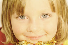 Kid face. Beautiful little girl with big  eyes Royalty Free Stock Image