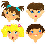 Kid faces  set.isolated characters. Illustration. none background Royalty Free Stock Photo
