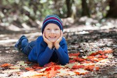 Kid at fall Stock Photos