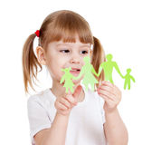 Kid with family cutting from paper Royalty Free Stock Photos