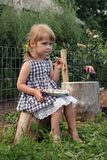 Kid in farm. Young cute girl in farm Royalty Free Stock Photography