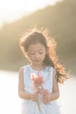 Kid fashion. Cute little asian girl wearing white clothe royalty free stock images