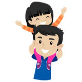 Kid and Father doing Piggy Back Ride. Vector Illustration of Kid and Father doing Piggy Back Ride Stock Photography