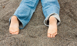 Kid Feet In Sand Stock Images