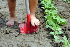 Kid feet over a shovel Royalty Free Stock Photo