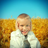 Kid in the Field Stock Images