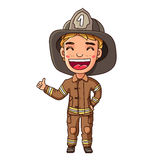 Kid in a fireman suit. Little fireman. Boy in a fireman suit. Vector illustration on white background Stock Images