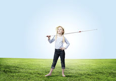 Kid fisherman Stock Photography
