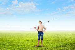 Kid fisherman Royalty Free Stock Images