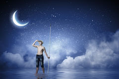 Fishing boy moon stock photos images pictures 39 images for Fishing rod sun and moon
