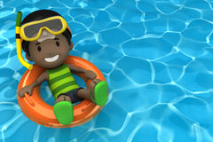 Kid floating with inflatable ring Royalty Free Stock Image