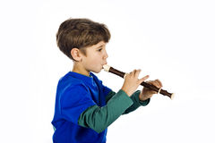 The kid and a flute Stock Photo