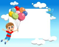 Kid Flying With Balloons Frame stock image