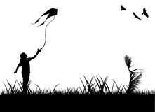Kid flying kite. Silhouette vector Royalty Free Stock Images