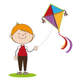 Kid flying kite icon Stock Photos