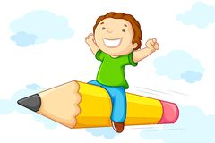 Free Kid Flying On Pencil Stock Photography - 25438032