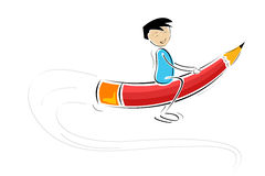 Kid flying on pencil Stock Image