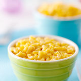 Kid food - Macaroni and cheese. Colorful kids bowl of macaroni and cheese pasta Royalty Free Stock Photo