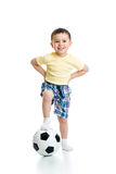 Kid with football  over white background Stock Images
