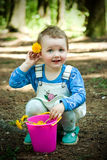 Kid in the forest Royalty Free Stock Image