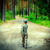 Kid in the Forest Stock Image