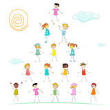 Kid forming a pyramid Royalty Free Stock Images