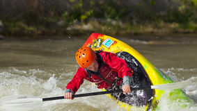 Kid Freestyle Kayaker in River Stock Images