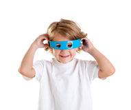 Kid with futuristic funny blue glasses happy Royalty Free Stock Images