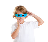 Kid with futuristic funny blue glasses happy Stock Photography