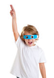 Kid with futuristic funny blue glasses happy Stock Photos