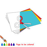 Kid game to be colored by example half. Applique, the coloring book to educate preschool kids with easy gaming level, the kid educational game to color the royalty free illustration