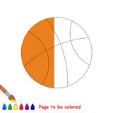 Kid game to be colored by example half. Basketball Ball, the coloring book to educate preschool kids with easy gaming level, the kid educational game to color vector illustration