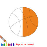 Kid game to be colored by example half. Basketball Ball, the coloring book to educate preschool kids with easy gaming level, the kid educational game to color royalty free illustration