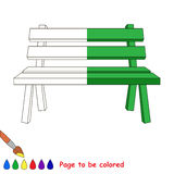 Kid game to be colored by example half. Bench, the coloring book to educate preschool kids with easy gaming level, the kid educational game to color the vector illustration
