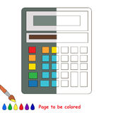 Kid game to be colored by example half. The Calculator, the coloring book to educate preschool kids with easy gaming level, the kid educational game to color vector illustration